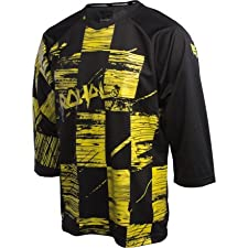 Royal Racing Ride Blasted Check Bike Jersey - 3/4 Sleeve - Men's Black/Blaze Yellow, M