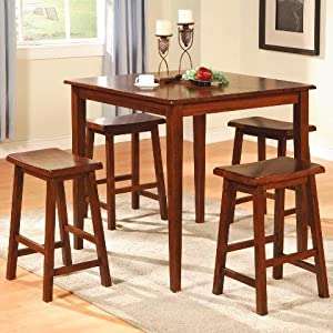 Counter Height Stools Amazon : Amazon.com - 5pc Counter Height Dining Table and Stools Pub Set Dark ...