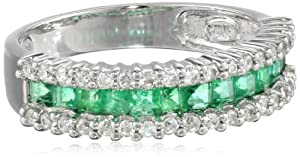 14k White Gold Classic Emerald Diamond Ring (1/3 cttw, I-J Color, SI2 Clarity), Size 5