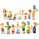 """The Simpsons 14 Piece Figure Set Featuring Homer Simpson, Bart Simpson, Ned Flanders, Marge Simpson, Milhouse, Rod Flanders, Todd Flanders, Otto Mann, Ralph Wiggum, Groundskeeper Willie, Mrs. Krabopple, and Sideshow Mel - Figures Range from 2.5"""" to 5"""" Tall"""