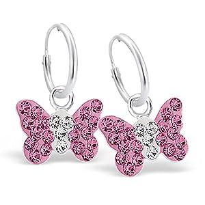 Sl-Silver - Boucles D'Oreilles Hoops - Papillon de cristal - blanc-rose - Argent 925/1000