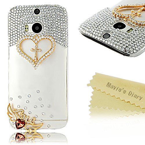 Mavis'S Diary Luxury 3D Handmade Crystal Heart Rhinestone Bling Clear Case Cover For Htc One M8 2014 With Soft Clean Cloth (Heart And Love)