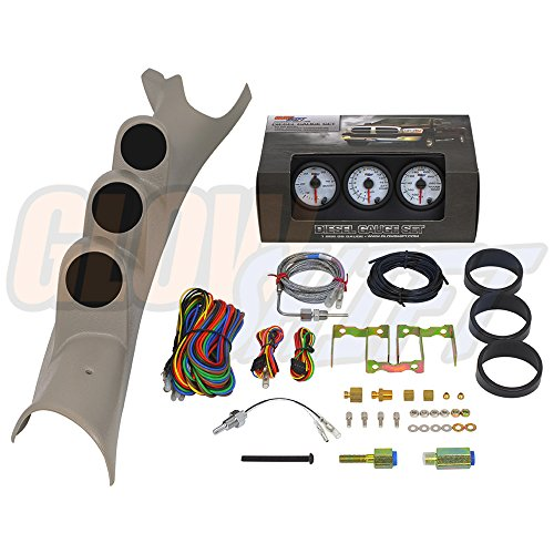 GlowShift 03-09 Dodge Ram Taupe Diesel Gauge Package White Face Boost, EGT & Trans Temp (2005 Dodge Cummins Parts compare prices)