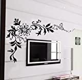 Instylewall Home Decorative Mural Decal Art Vinyl Wall Sticker Butterfly Flying to Flowers Black Wallpaper