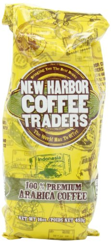 New Harbor Coffee Traders 100% Premium Arabica Ground Coffee, 16 Ounce Packages (Pack Of 4)