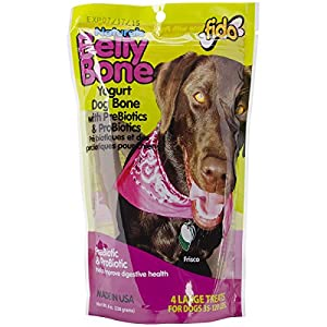 Fido Belly Dog Bone, Digestion Aid w/ Prebiotic & Probiotic Enzymes for Dogs, Large 4 Pack