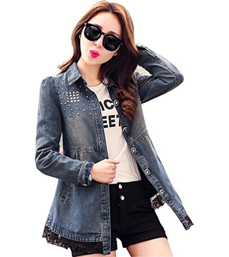 Feelmaker women's slim-fit lapel rivet button down denim jean Trench coat(L)