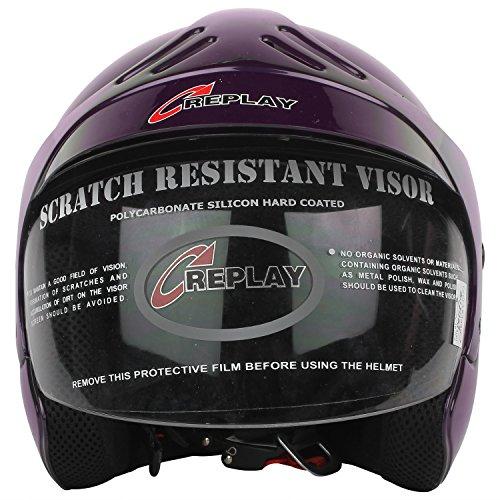 d139a3dc Replay Essex Hot Plain Open Face Helmet with Clear Visor (Purple, M)