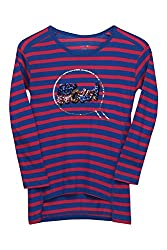 Poppers by Pantaloons Girl's Crew Neck T-Shirt (205000005621673, Blue, 9-10 Years)