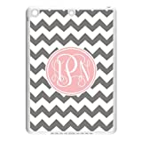 Monogram Personalized Grey and White Chevron Pattern with Cursive Initials IPAD Air Durable PC Case/Cover New Fashion, Best Gift