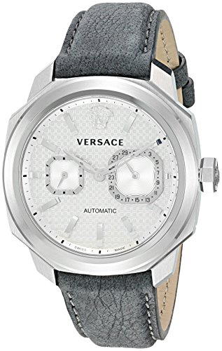 Versace-Mens-Dylos-Automatic-Stainless-Steel-and-Leather-Casual-Watch-ColorGrey-Model-V14010016