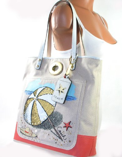 Coach Pierre Le-tan Umbrella Beach Tote Bag Handbag Style 14962