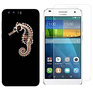 Snoogg 7a Hor7 Fish Combo Designer Protective Back & Shatter Proof Tempered Glass For HONOR 8