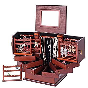 Rowling Large Wooden Jewelry Box Armoire Cabinet Earring Organizer 7 Drawers Mirror 018
