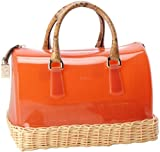 Furla Candy Bauletto Wicker Satchel,Papaya/Natural,One Size