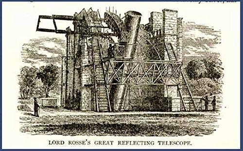 1869 Book Engraving Of Rosse'S Reflecting Telescope Original Paper Ephemera Authentic Vintage Print Magazine Ad / Article