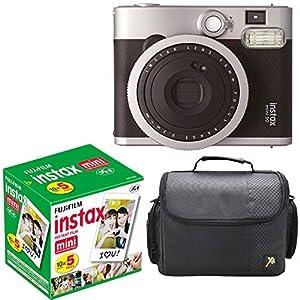 Fujifilm Instax Mini 90 Neo Classic Instant Film Camera With Fujifilm Instax Mini Instant Film, 10 Sheets x 5 packs + Case Deluxe Bundle