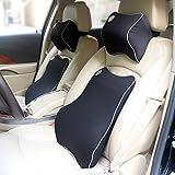 (バリュートム)Valuetom 車用 低反発 クッション セット(腰あてクッション・ネックパッド) 長座 腰痛対策 ブラック