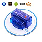 Foseal Car OBD2 OBD 2 OBDII Bluetooth Diagnostic Scan Tool Check Engine Light for Android & Windows System Torque Pro