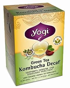 Yogi Kombucha Decaf Green Tea, 16 Tea Bags (Pack of 6)