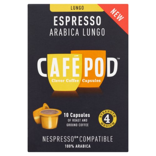 CafePod Nespresso Compatible Arabica Lungo Capsules (Pack of 4, Total 40 Pods)