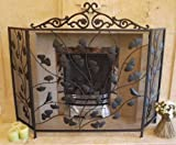 Black Wrought Iron Birds & Leaves Metal and Mesh Fire Screen Guard