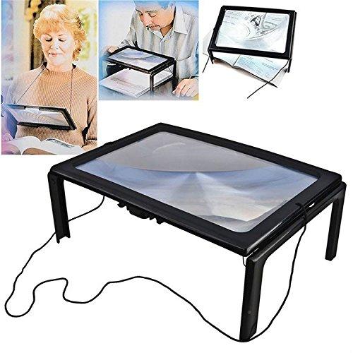 Japace® 4 LED Loupe Pleine Page Lumineuse Magnifier X3 Sur Pieds à poser ou a suspendre au cou jambes pliables Noir