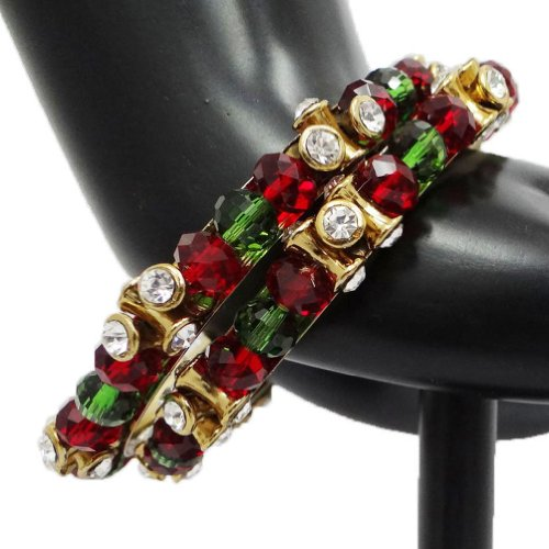 2 Pcs White CZ Red Green Bangle Kada Set Gold