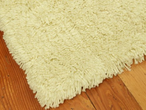 """Royal Elegance"" Shag Rug 6' x 9' - Ivory/Vanilla Custard, Extra Thick Twisted Acrylic Yarn, Hand Tufted, Cotton Backing"