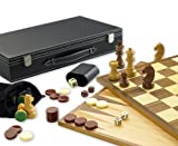 Gibsons G390 - Set de 3 juegos en 1 (Ajedrez, Backgammon y Damas)