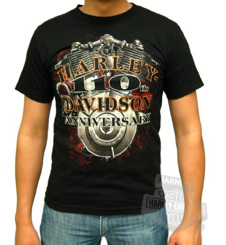 Harley-Davidson Mens 110th Anniversary V-Twin Black Short Sleeve T-Shirt (Large)