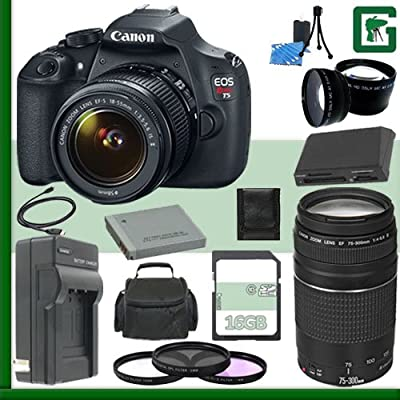 Canon EOS T5 Digital SLR Camera Kit with 18-55mm IS STM Lens and Canon EF 75-300mm Lens + 16GB Green's Camera Package 1