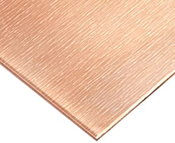 "110 Copper Sheet, Unpolished (Mill) Finish, H02 Temper, ASTM B370, 0.0162"" Thickness, 12"" Width, 12"" Length, 27 Gauge"