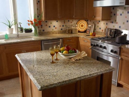"Instant Granite Counter Top Peel And Stick Gold Granite - 36"" X 14' front-6869"