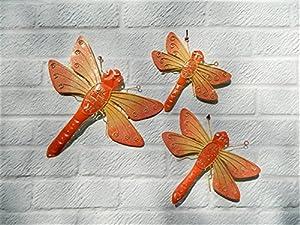 Metal Wall Art Dragonfly Dragonflies Set of 3 - Orange