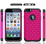 Iphone 6 Case, Meaci® Cellphone Case for Iphone 6 (4.7 Inch) 2 in 1 Case Combo Hybrid Case Glitter/bling Diamond Dual Layer Pc and Silicon Rubber Protective Case (hotpink and black)
