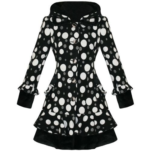 LADIES NEW BLACK WHITE POLKA DOT SPOTTY EMO VTG STYLE GOTH FITTED WINTER COAT