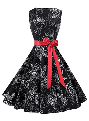 Anni Coco Women's 1950s Hepburn Vintage Swing Dresses With Ribbon Belt Floral 10 Large
