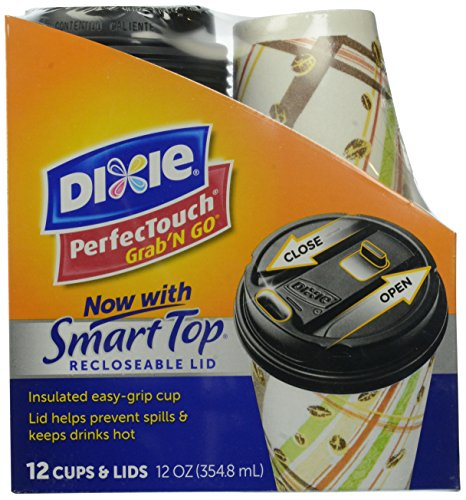 Dixie PerfecTouch Grab 'N Go Cups with Smart Top, 12 Ounce