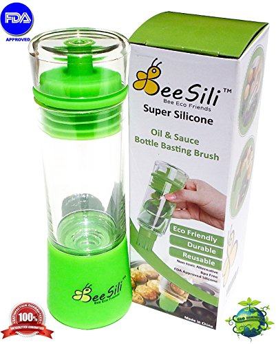 Bee Sili Olive Oil & Vinegar Dispenser Bottle Basting Brush - 3-in-1 Pour, Baste, Store Space Saver - Salad Dressing Cruet Food Storage Container - Green (Sili Co compare prices)