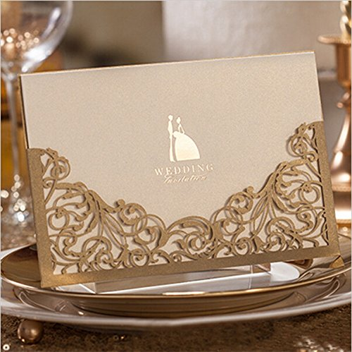 Joinwin Pack of 12 Floral Laser Cut Invitations Cards For Gold Wedding Invitations Printable Paper Blank Convite do casamento