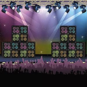 Rock Star Backdrop Banner - Concert Stage Karaoke Background Party Decoration by Fun Express