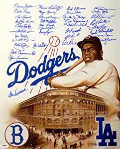 Dodgers Greats Autographed 16x20 Photo (35 Signatures) Newcombe, Baker, Russell &...