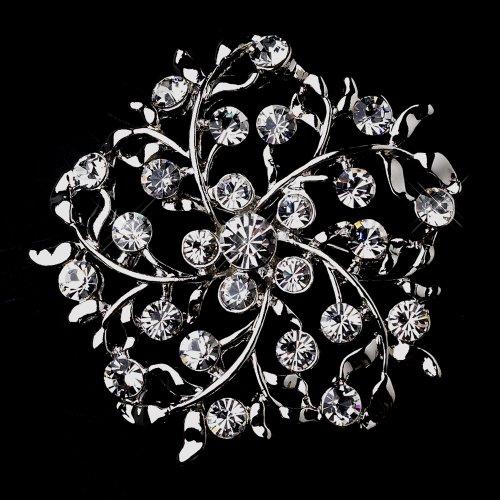 Silver Leaves Crystal Bridal Brooch Pin Hair Clip