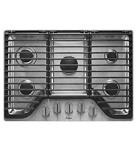 Whirlpool 30 inch 5 Burner Gas Cooktop with EZ-2-LiftTM Hinged Cast-Iron Grates WCG97US0DS (30 Whirlpool Cooktop compare prices)