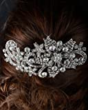 Unik Occasions Large Floral Rhinestone Crystal Wedding Hair Comb