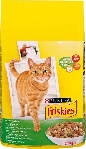Friskies Chat Croquettes pour chat adulte Lapin, Poulet & Légumes ajoutés - 7,5 kg'