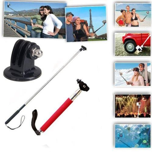 New Extendable Handheld Monopod Tripod Mount Adapter For Gopro Hero 3/2/1 Camera-Red