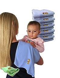 Jet Storm Microfiber Baby Burp Cloth - Blue, Pack of 10