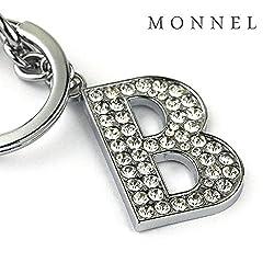 Z285 Bling Crystal Alphabet Initial DIY Letter B Keychain Key Ring for Pet Dog Cat Collar from monnelF